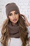 Стильный набор- шапка и хомут качества LUX  шерсть, акрил. Очень тёплая. Разных цветов. код 6054К, фото 3