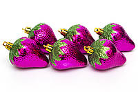 Набор елочных игрушек - клубничка, 6 шт, 6 см, розовый, пластик (031566)