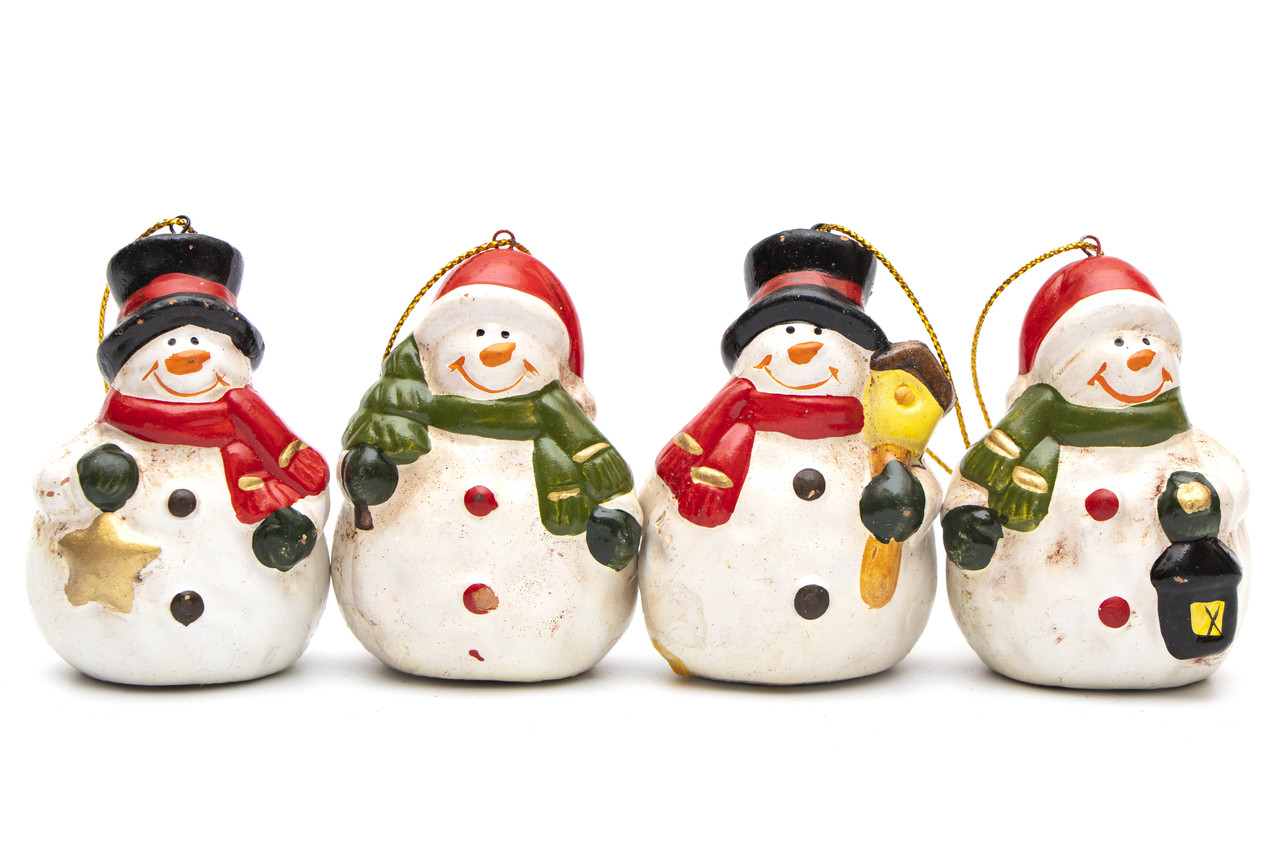 Набор елочных игрушек - снеговик, 4 шт., 6,5 см, белый, керамика (013098)