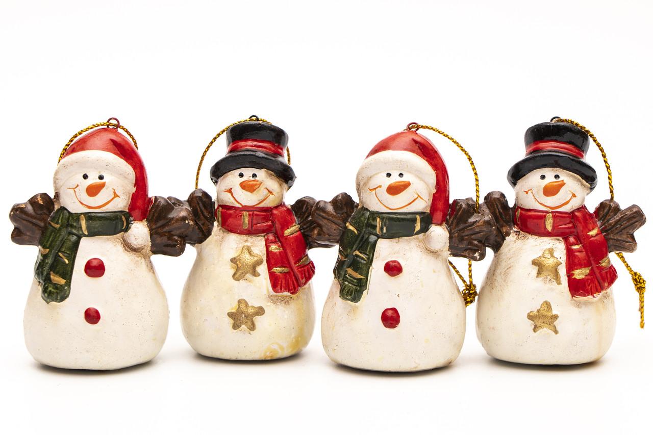 Набір ялинкових іграшок - Сніговик, 4 шт, 6,1 см, білий, кераміка (013111)