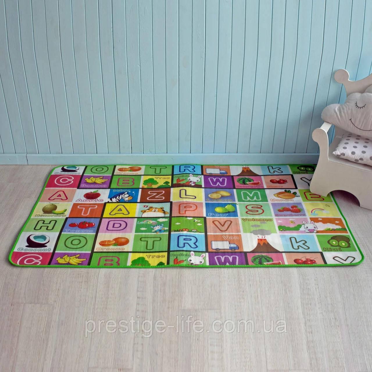 Детский двухсторонний термо коврик (180х100 см), развивающий, с буквами