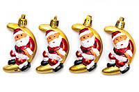 Набор елочных игрушек - Дед Мороз на месяце, 4 шт, 6 см, золотистый, пластик (032983)