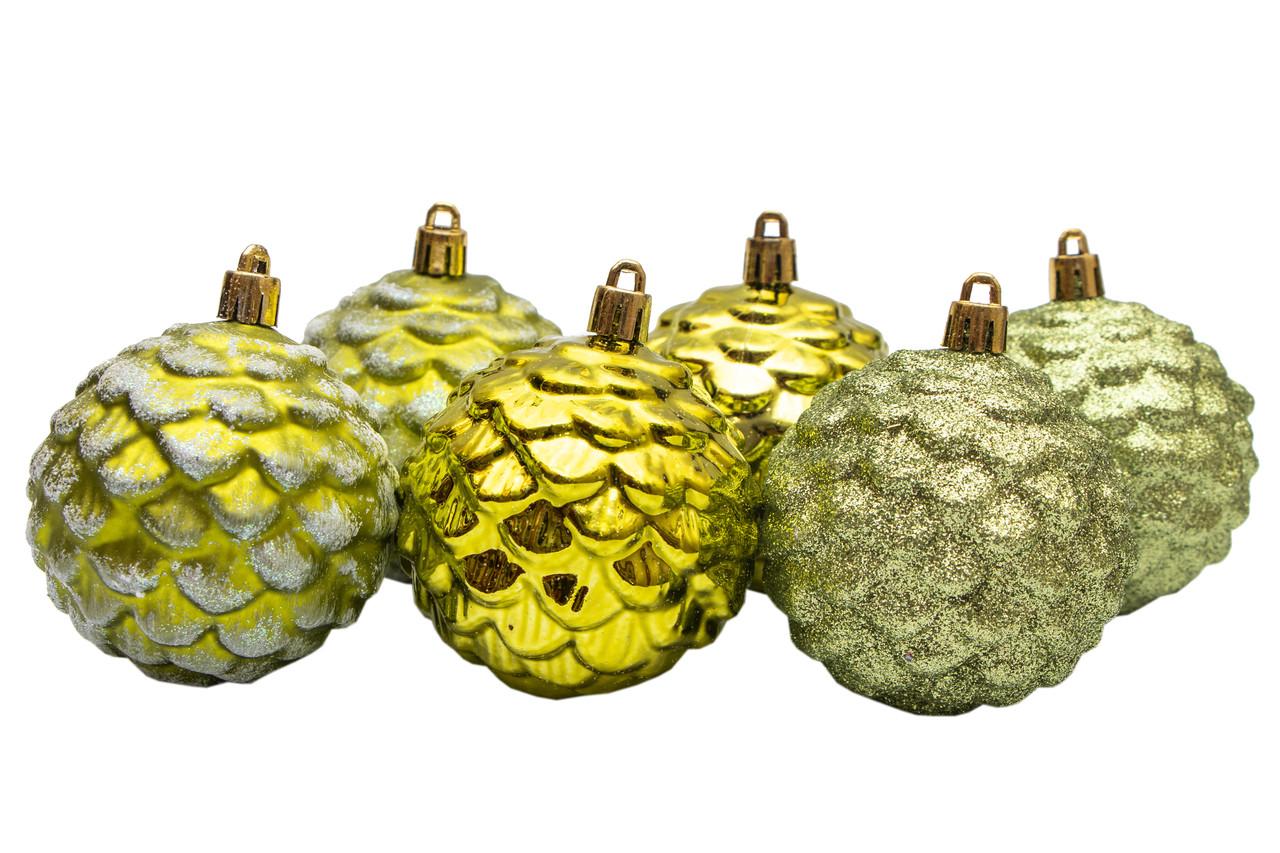 Набор елочных шаров с декором, 7*6 шт, пластик (033140)