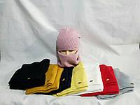 Теплый женский ангоровый комплект шапка и баф на флисе, цвета миксом
