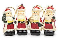 Набор елочных игрушек - Дед Мороз, 4 шт, 6 см, разноцветный, керамика (013104)