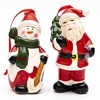 Набор елочных игрушек - Дед Мороз и снеговик на веревке, 2 шт, 9 см, красный, керамика (440078)