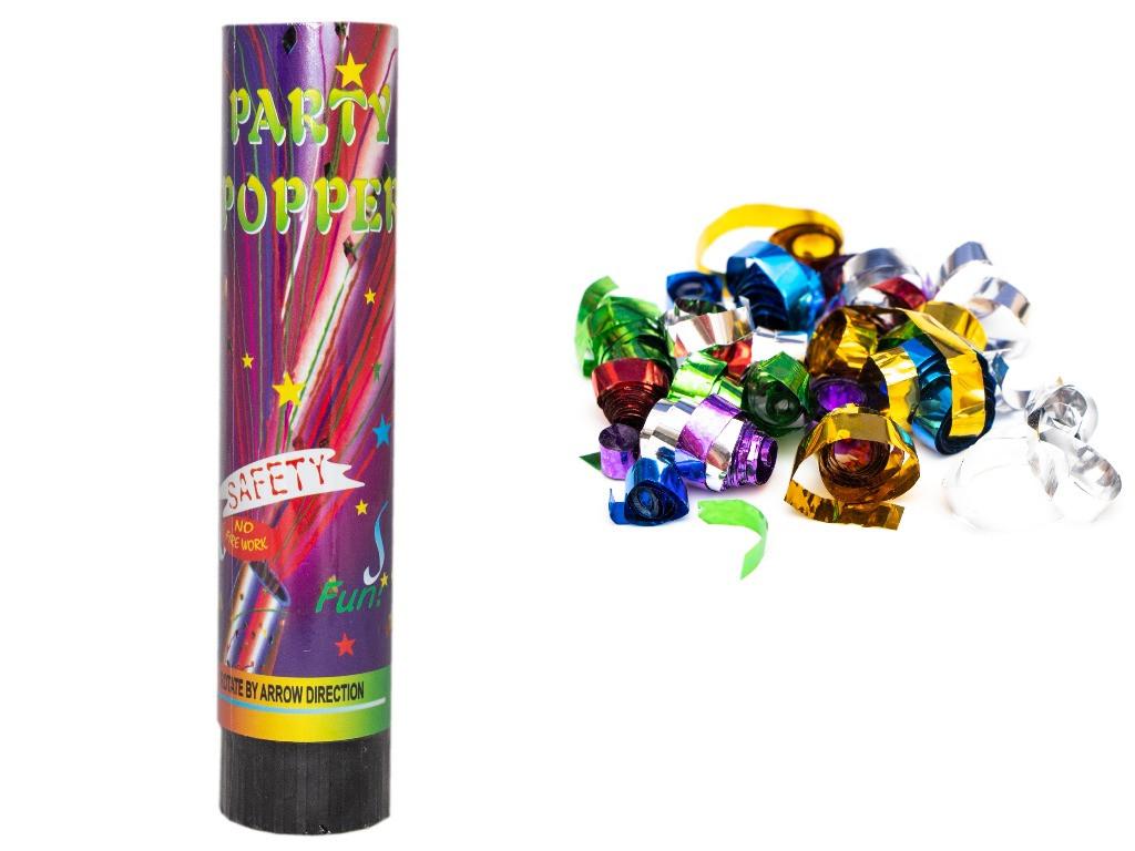 """Хлопушка пружинная """"PARTY POPPERS"""", 21 см, разноцветные полоски из фольги (400096-2)"""
