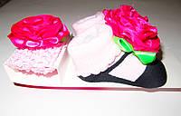 Подарочный набор 2 в 1 Повязочка на голову и носочки, маленьких красоточек размер 0-9 мес.