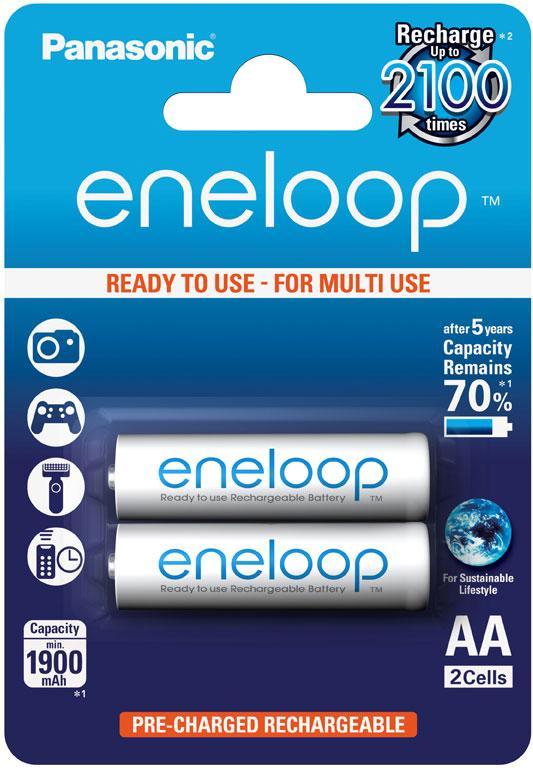 Аккумулятор Panasonic Eneloop BK-3MCCE/2BE, AA/(HR6), 1900 mAh, LSD Ni-MH, блистер 2шт