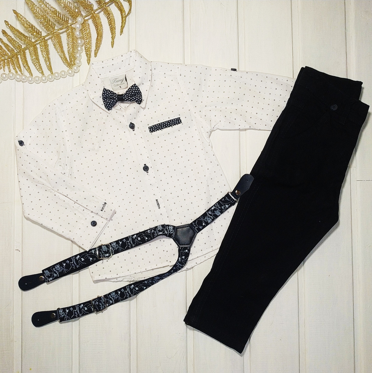 Костюм святковий для хлопчика сорочка і штани Розміри 80 92 98