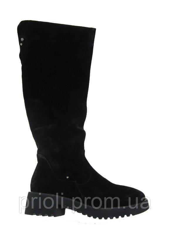 Распродажа 37 39 40 41 размер Зимние женские сапоги на каблучке черная замша