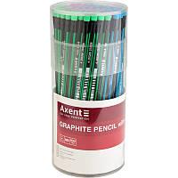 Олівець графітний тригран з гумкою HB у тубі Axent (100)