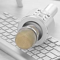 Портативный караоке микрофон со встроенным динамиком Hoco BK3  Cool sound KTV Silver, фото 2