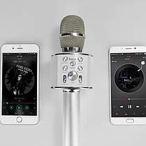 Портативный караоке микрофон со встроенным динамиком Hoco BK3  Cool sound KTV Silver, фото 3