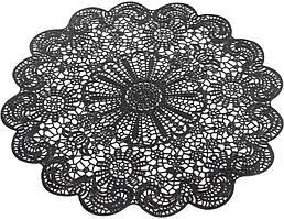 Набір 6 сервірувальних килимків Margrese Мереживо Ø38см (подтарельники), чорний