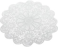 Набір 6 сервірувальних килимків Margrese Мереживо Ø38см (подтарельники), срібло