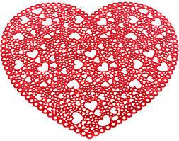 Набір 6 сервірувальних килимків Margrese Серце 38см (подтарельники), червоний