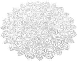 Набір 6 сервірувальних килимків Margrese Хризантема Ø38см (подтарельники), срібло