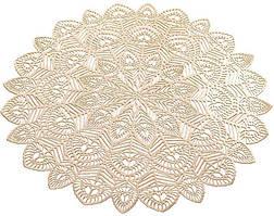 Набір 6 сервірувальних килимків Margrese Хризантема Ø38см (подтарельники), золото
