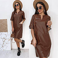 Кожаное коричневое платье прямого кроя, фото 1