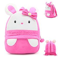 """Рюкзак детский """"Зайка"""" для садика плюшевый для малышей качественный розовый мягкий велюр маленький 3 года"""