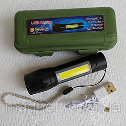 Фонарик карманный Bailong BL-511 в кейсе ХРЕ+COB USB charge ZOOM Черный (4814)
