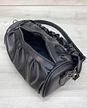 Молодежная женская сумка стильная «Lola» черная, женская модная сумка среднего размера кожзам, фото 5