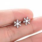 Серьги гвоздики снежинка, фото 2