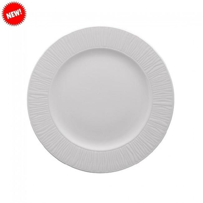 Тарелка белая фарфоровая круглая с рельефным бортом Kutahya EMOTION 270мм.