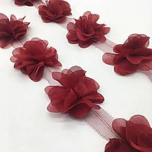 Шифоновые цветы для украшений, декора одежды, 5 см бордового цвета, 1 шт!