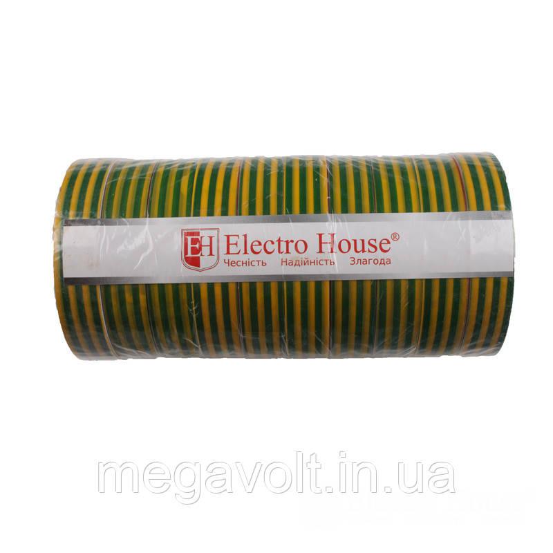 Изолента желто-зеленая 0,15мм х 18мм х 50м