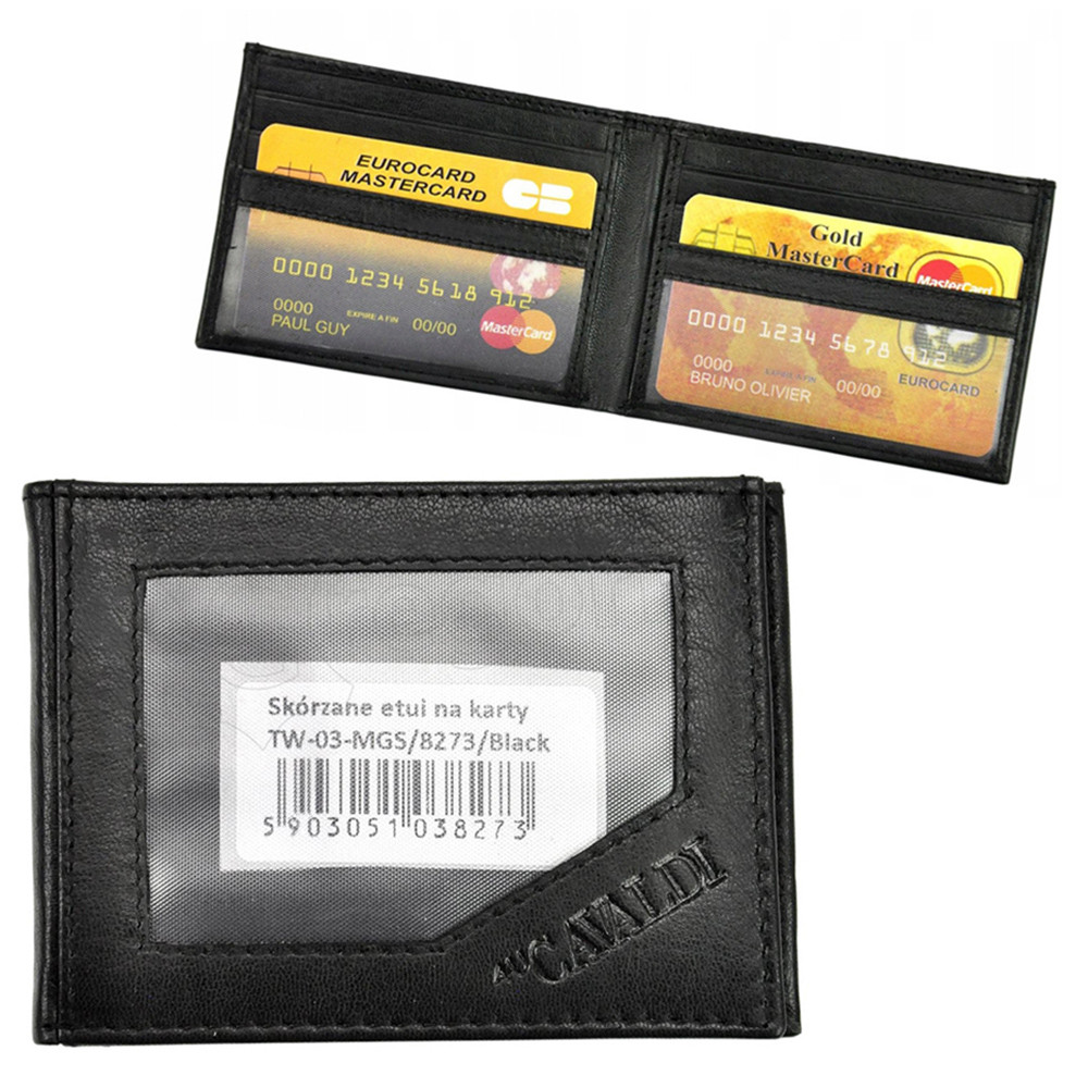 Документница кожаная черная (для ID паспорта, прав, техпаспорта) Cavaldi TW-03-MGS