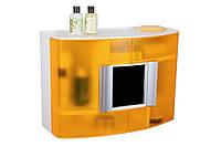 Шкафчик в ванную белый/оранжевый с зеркалом, код 09317