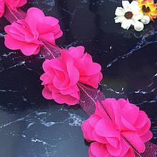Цветы из шифона для создания украшений, декора одежды, 5 см малинового цвета, 1 шт!