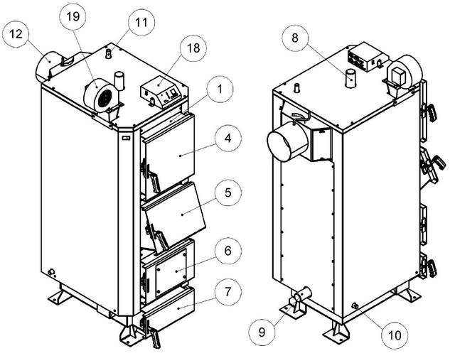 Конструкция Котла на отработке и твердом топливе Кронас 27 кВт  Фото-1