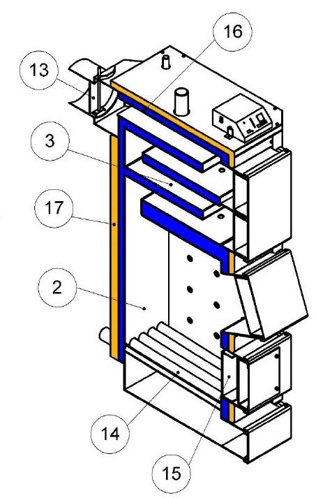 Конструкция Котла на отработке и твердом топливе Кронас 27 кВт  Фото-2