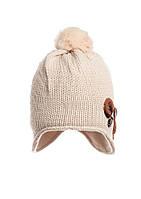 Модная теплая зимняя вязаная шапка на флисе.