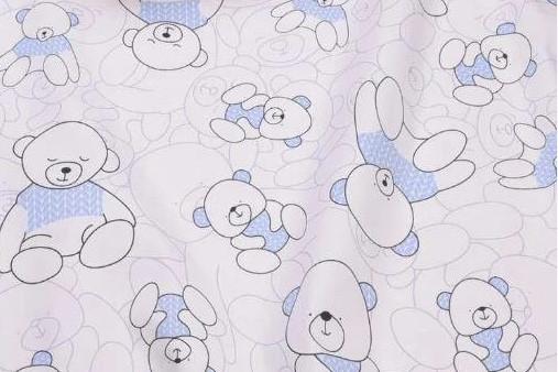 Сатин-твил Мишки косички голубые