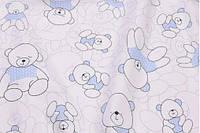 Сатин-твил Мишки косички голубые, фото 1