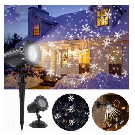 Новогодний светодиодный проектор уличный Снежинки белые