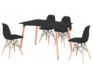 Кухонный комплект стол и 4 стула MUF-ART Черный