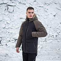 Парка зимняя мужская, теплая молодежная куртка черная с хаки