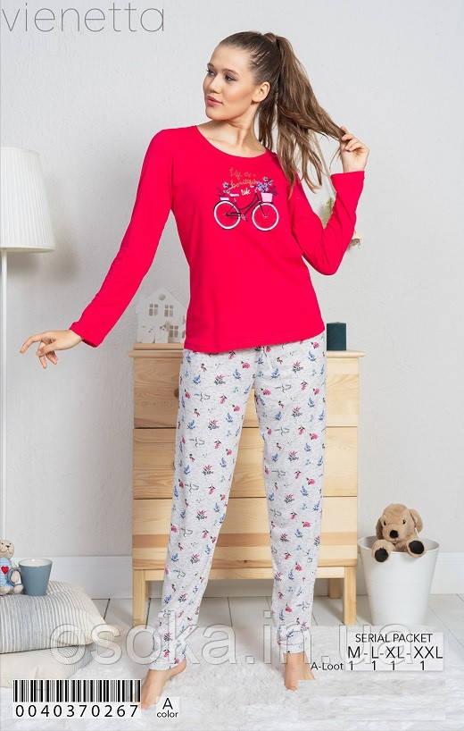 Женская пижама с брюками Vienetta 0040370267 малиновый