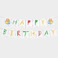 Гирлянда бумажная Happy birthday Краски