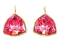 """Сережки ХР Позолота 18К з кристалами Swarovski французький замок """"Великий Рожевий Кристал Ограновування Щит"""""""
