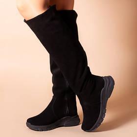 Ботфорты черные на удобной подошве в стиле спорт, кожа замша натуральная размеры 36-41