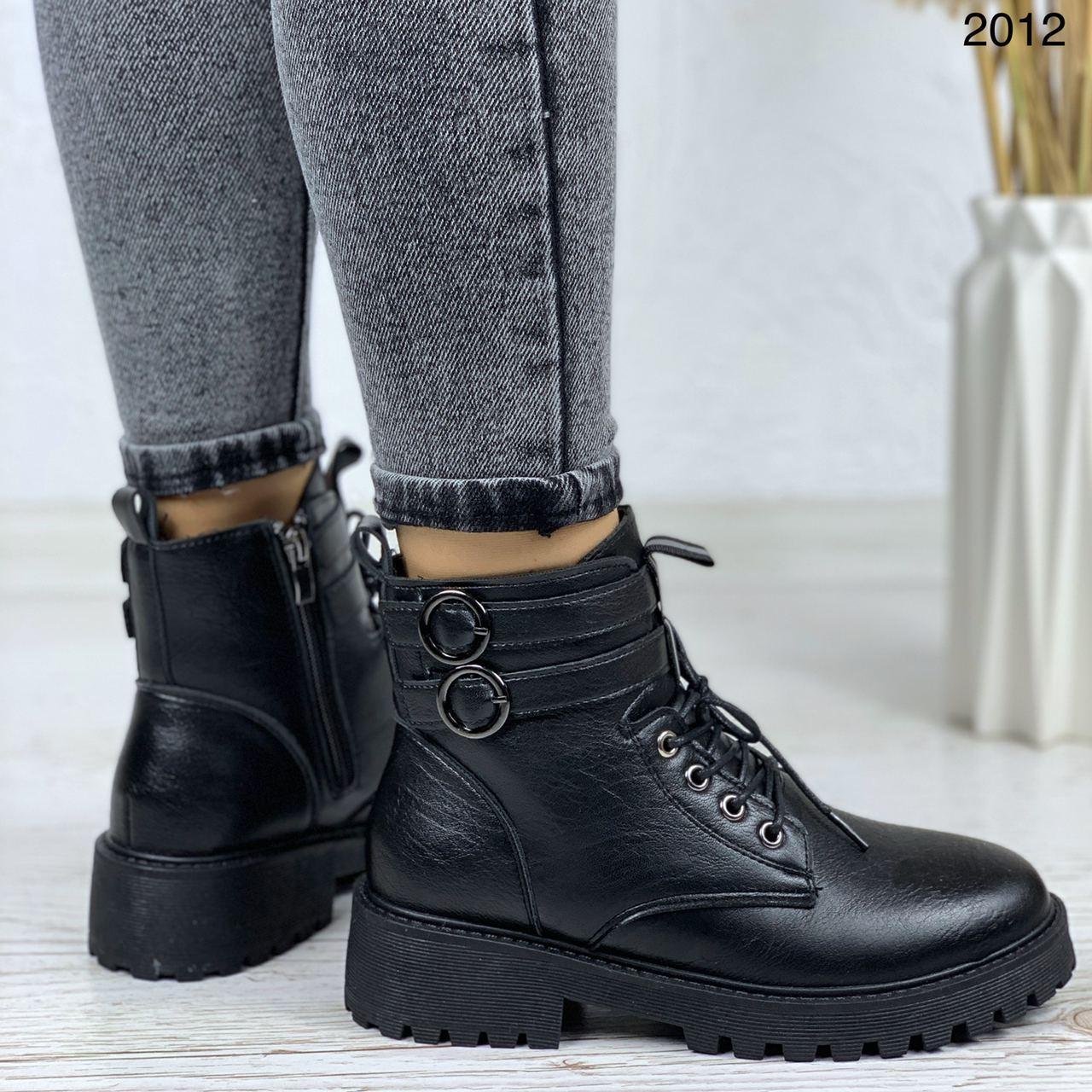 Женские ботинки ЗИМА черные с ремешком на шнуровке эко кожа