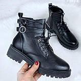 Женские ботинки ЗИМА черные с ремешком на шнуровке эко кожа, фото 2