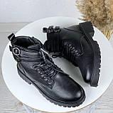 Женские ботинки ЗИМА черные с ремешком на шнуровке эко кожа, фото 3