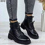 Женские ботинки ЗИМА черные с ремешком на шнуровке эко кожа, фото 4